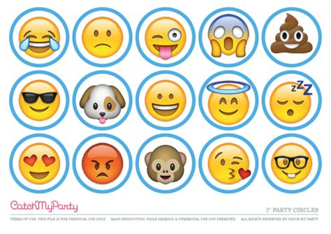 printable emojis free emoji party printables catch my party