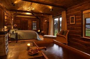 wood interior homes cabin bedroom