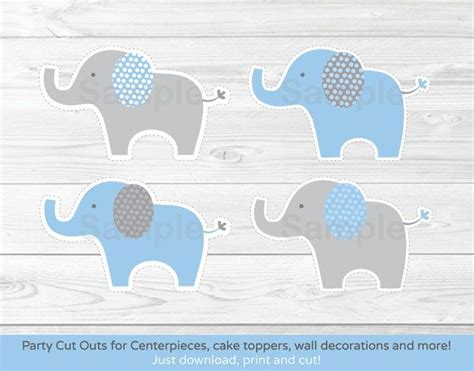 Free Printable Elephant Baby Shower Decorations by Blue Elephant Cut Outs Elephant Centerpiece Wall Decor