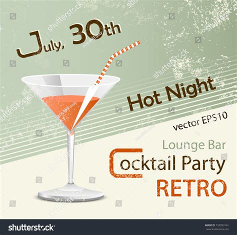 vintage cocktail party poster retro party poster design cocktail glass stock vector