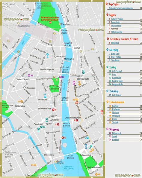 printable tourist map zurich zurich map zurich top tourist attractions map central