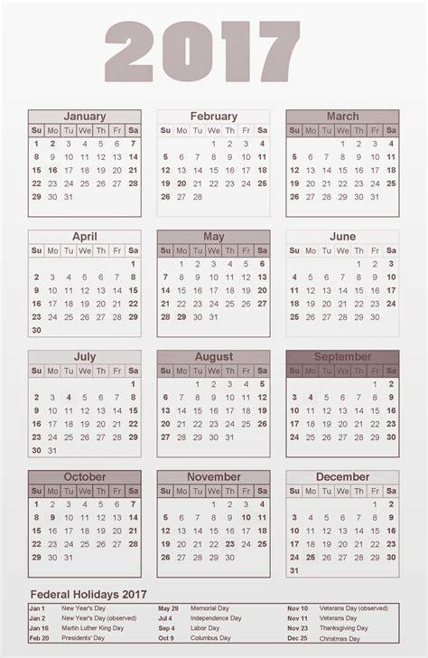 printable 2017 calendar with federal holidays federal holidays 2017 calendar list printable