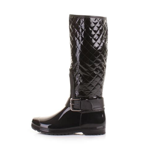 Womens Quilted Wellies by Womens Black Quilted Warm Winter Wellies Wellington Boots Size 3 8 Ebay