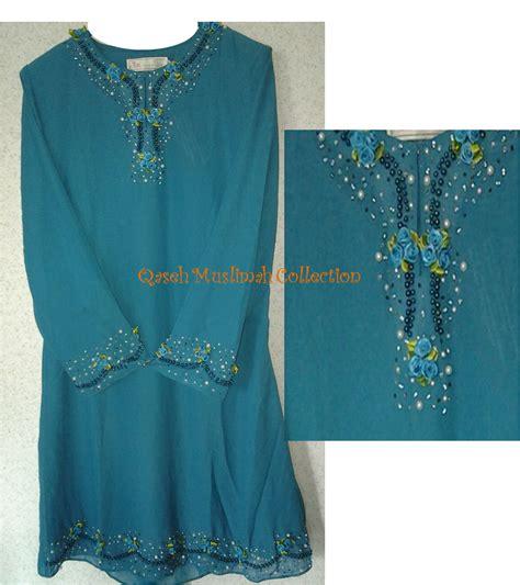 Baju Kurung Moden Warna Biru Turquoise qaseh muslimah collection jualan harga runtuh baju kurung moden eksklusif murah