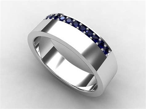 blue sapphire ring mens wedding band palladium s