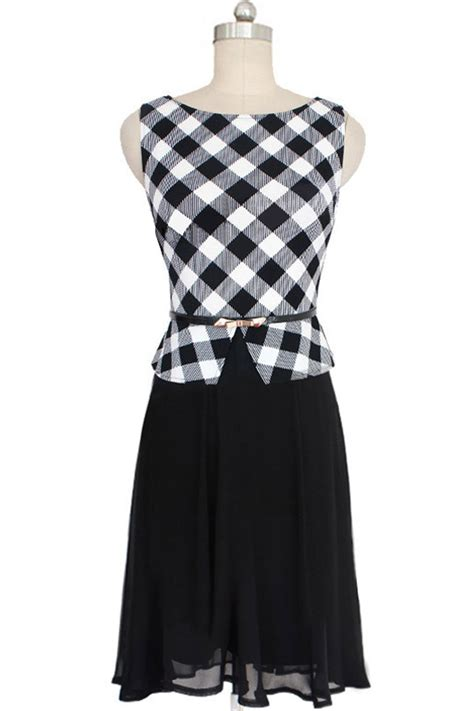 pattern dress black and white kettymore women sleeveless plaid pattern skirt halter