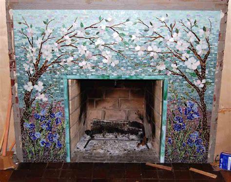 Mosaic Fireplace Surround/Dogwood and Irises   Designer