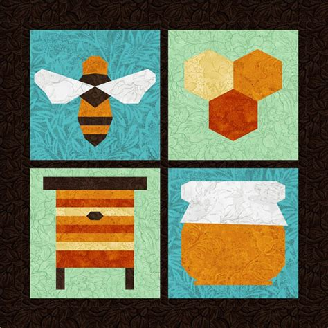 honey bee 4 quilt block patterns foundation paper