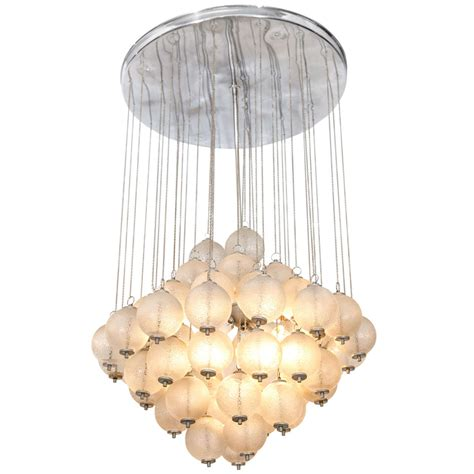 Chandelier Glass Balls A Mid Century Chandelier With Hanging Murano Glass Balls At 1stdibs