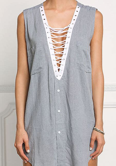 Lace Up Linen Blouse grey linen plunge lace up blouse