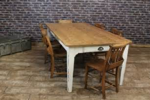 Antique Oak Dining Chairs Shabby Chic Farmhouse Table Reclaimed Rustic Pine With
