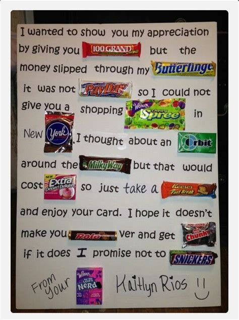 appreciation letter for birthday gift 84 best chocolate bar cards images on