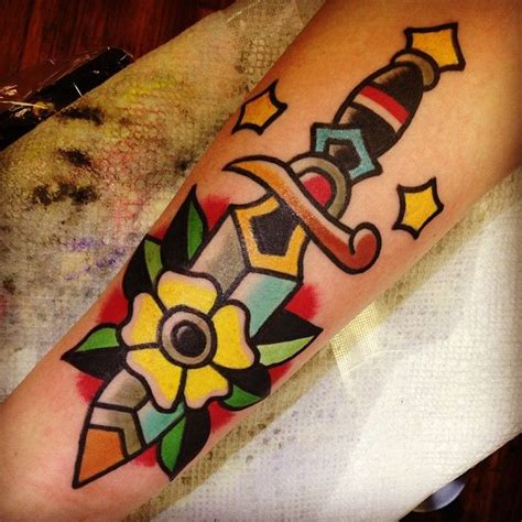 tattoo old school dagger tattoo old school traditional ink knife dagger by