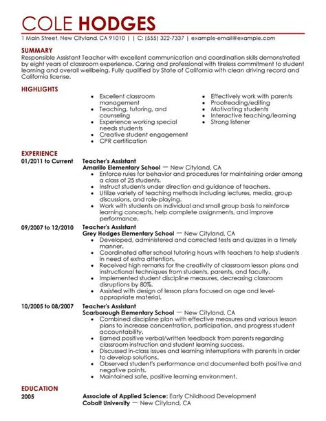 Teachers Assistant Resume by Best Assistant Resume Exle Livecareer