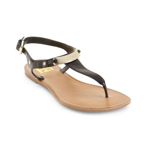 black sandals lyst tommy hilfiger loraine thong sandals in black