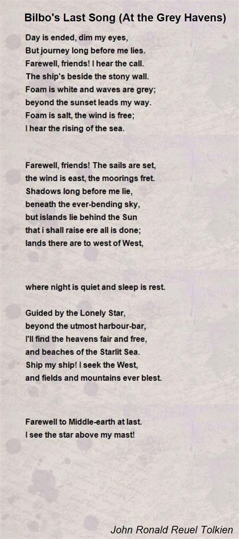song poem bilbo s last song at the grey havens poem by ronald
