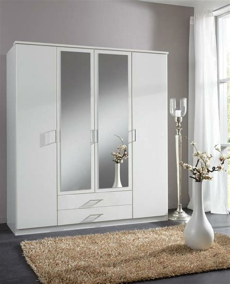 Bedroom Set With Wardrobe Closet - roma large 4 door matt white wardrobe cupboard bedroom