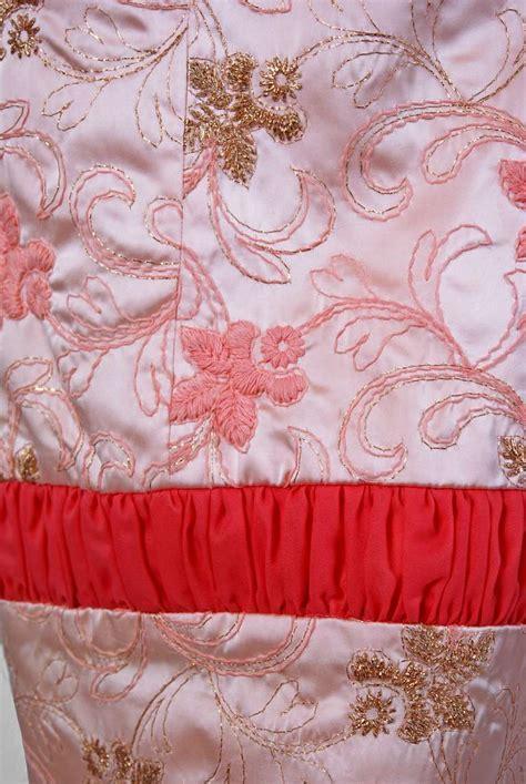 light pink metallic dress 1950 s beaumelle light pink metallic embroidered satin