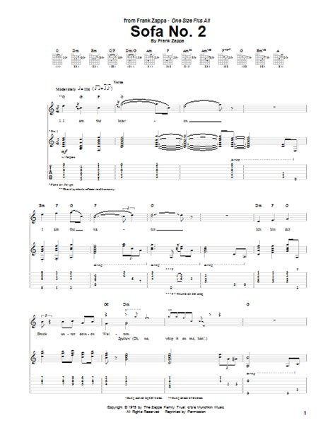 Sofa No 2 Guitar Tab By Frank Zappa Guitar Tab 150266