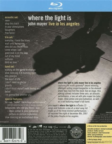 Where The Light Is Mayer by Where The Light Is Mayer Live In Los Angeles 2007 Dvd Empire