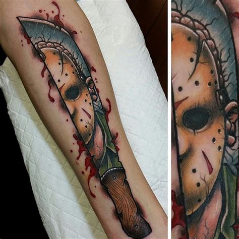 jason mask tattoo jason friday 13th sleeve 13