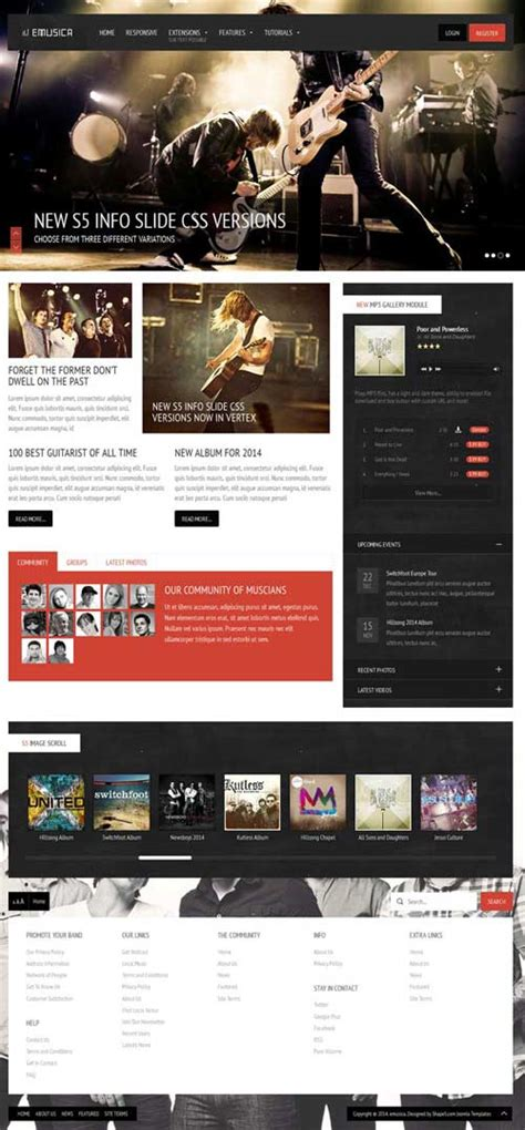 template joomla music free emusica a premium entertainment joomla theme free download