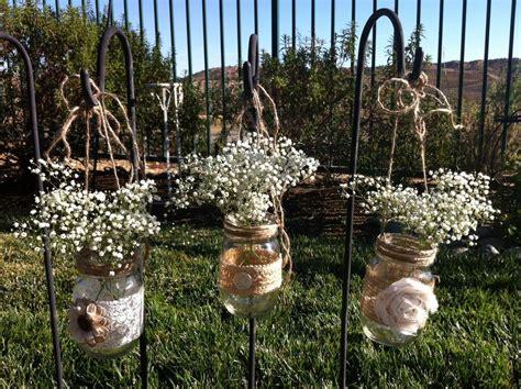 burlap wedding decor ideas burlap inspired country weddin burlap lace hanging mason jars candle holders for wedding