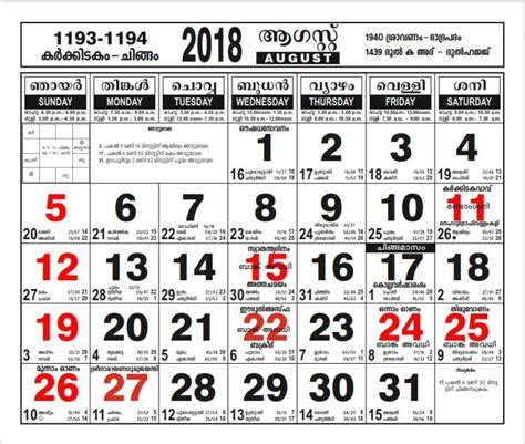 malayalam calendar     lawguage