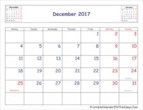2017 Monthly Calendar With Holidays Monthly 2017 Calendar Printable With Holidays