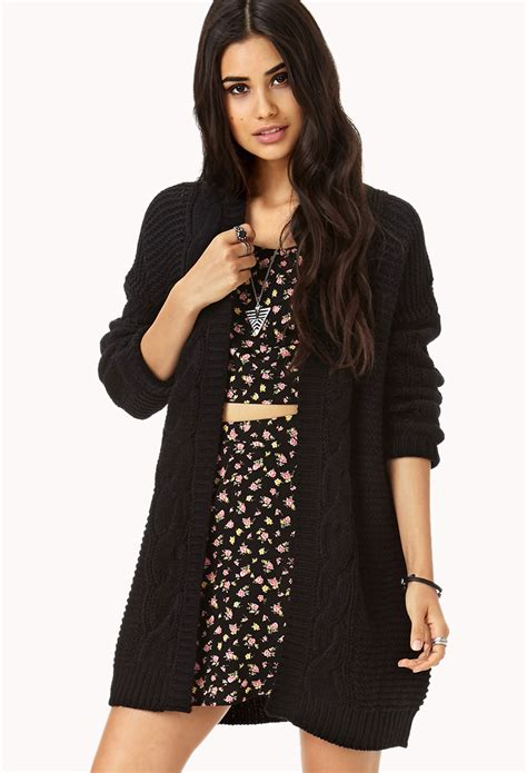 knitting pattern long line cardigan forever 21 longline mixed knit cardigan in black lyst