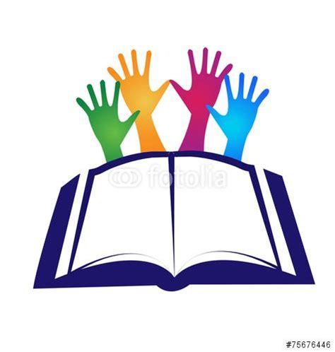 libro logo design love a vector book and hands logo icon vector books graduation students logos icons