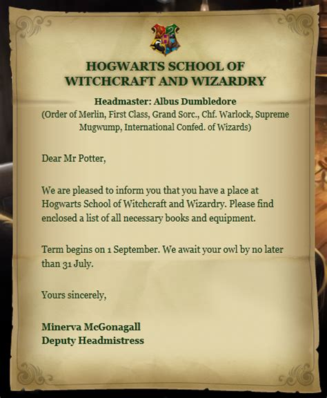 Invitation Letter Harry Potter Geschichtenabenteurerin Tag Harry Potter