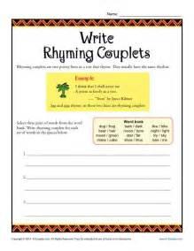 write rhyming couplets poetry worksheets