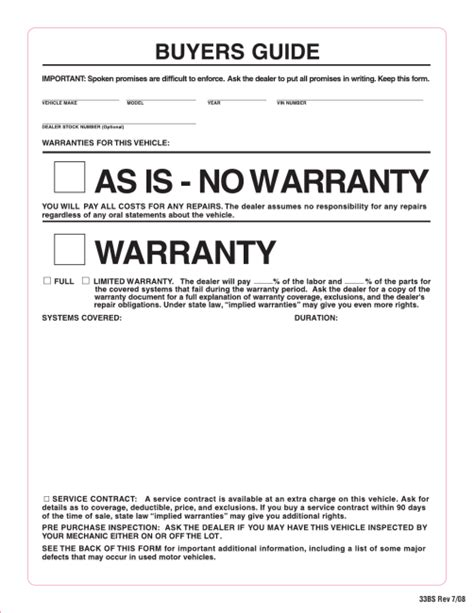 as is document template window stickers order form automotive valuation and