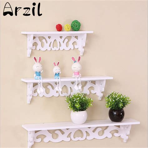 decorative crafts for home wooden white wall hanging shelf rack household photo