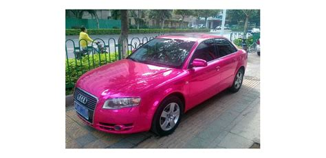 pink audi a4 audi a4 gets ostentatious pink chrome wrap and bubble wrap