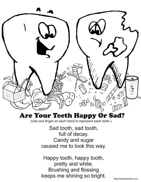 teeth coloring pages happy tooth sad tooth fingerplay