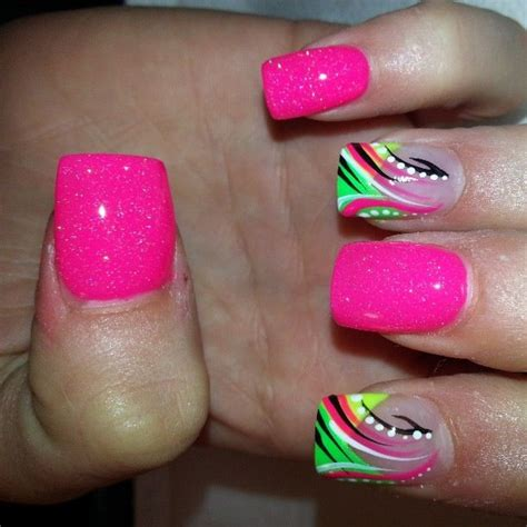 2018 hot and flashy hot pink and lime green nail designs best nail designs 2018