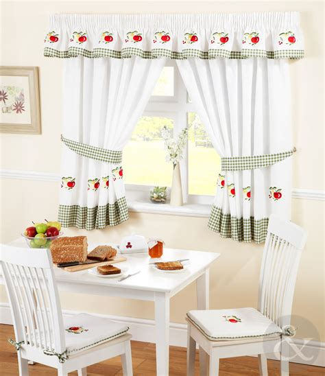 kitchen curtains red green ready made embroidered net