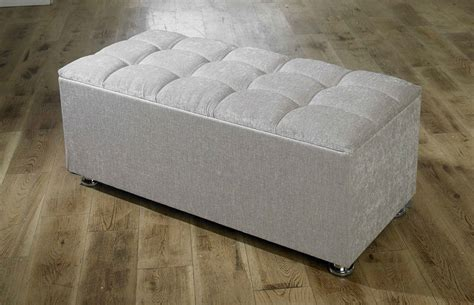 New Ottoman Storage Blanket Box In Chenille Storage Ottomans Uk