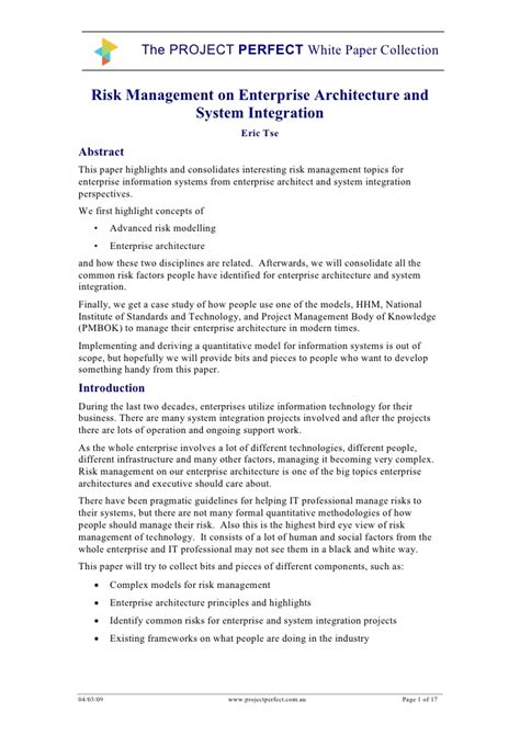 Microsoft Word White Paper Enterprise Risk Management White Paper Template Microsoft Word