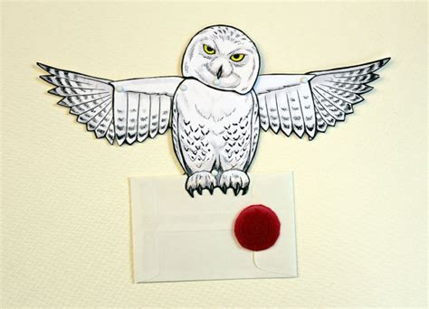 printable owl post owl post card snowy articulated paper doll with seal