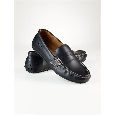 ralph loafers polo ralph leather wes loafer in black for