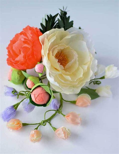 diy crepe paper flower sweet pea wedding flower and