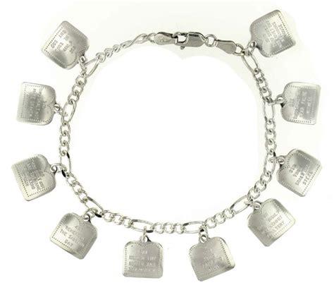 sterling silver ten commandments charm bracelet 3131