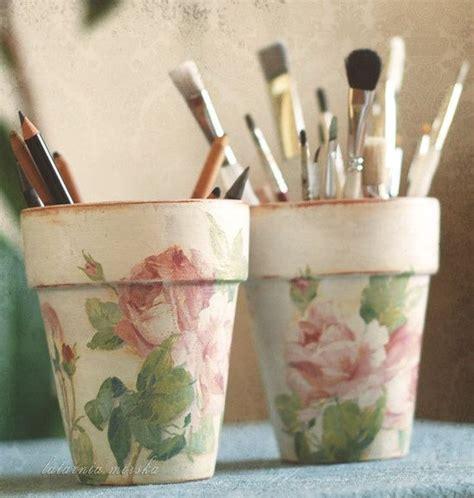 Decoupage Clay Pots Ideas - decoupage pots from paper napkins paint techniques verf