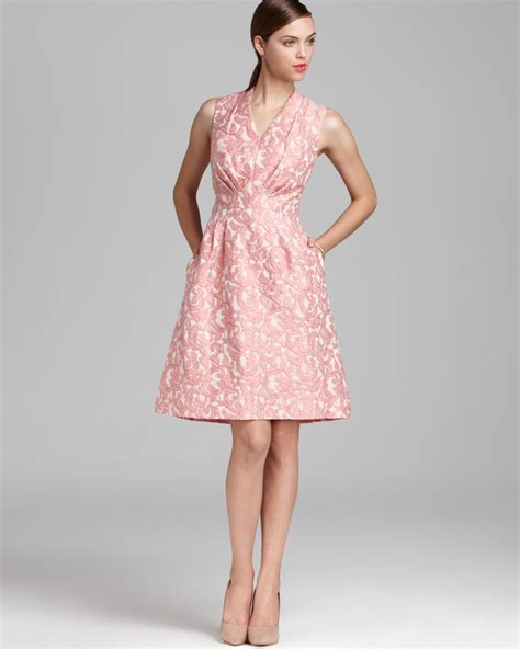 Dress Jaquard lyst papell jacquard dress sleeveless fit and flare in pink