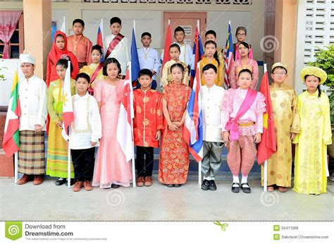 national costumes of asean member states children in national dress for asean community editorial