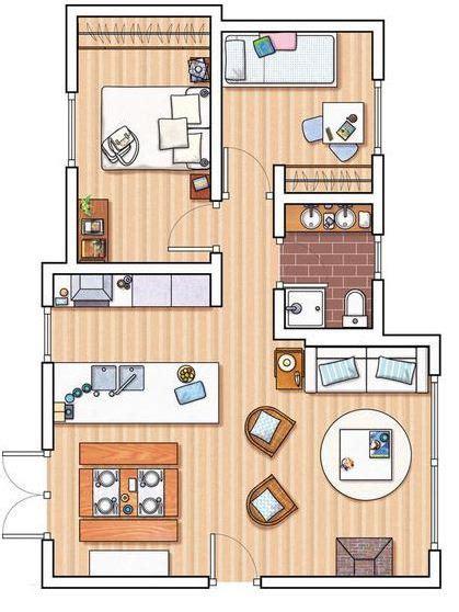 mapa de la casa de co plano de departamento de 2 dormitorios