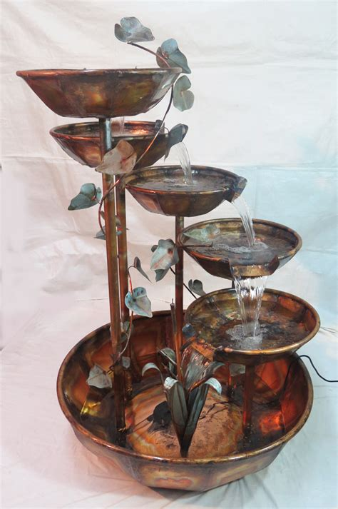 copper fountain 5 bowl 5 foot waterfall copper fountains